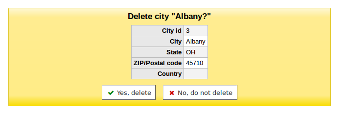 Screenshot of the confirmation dialog shown when deleting a city.